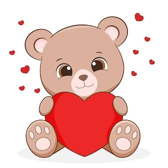 Słodki mały miś trzyma serce