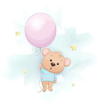 Słodki mały miś z dużym różowym balonikiem