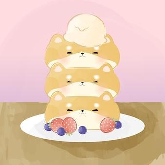 Słodki mały naleśnik shiba inu