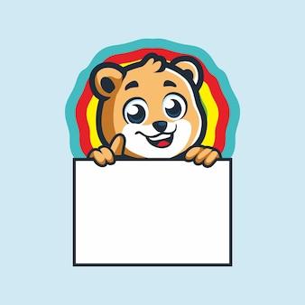 Słodki mały niedźwiedź z tablicą tekstową kreskówka wektor rysunek