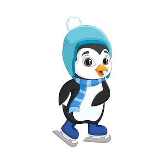 Słodki mały pingwin na łyżwach