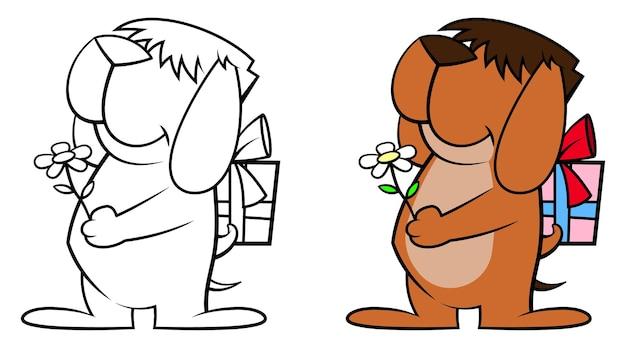 Słodki mały szczeniaczek daje kwiaty, ukrywając prezent-niespodziankę dla dzieci