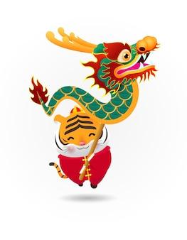 Słodki mały tygrys wykonuje taniec smoka