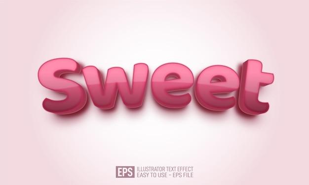 Słodki, miękki, edytowalny tekst 3d szablon efektu stylu