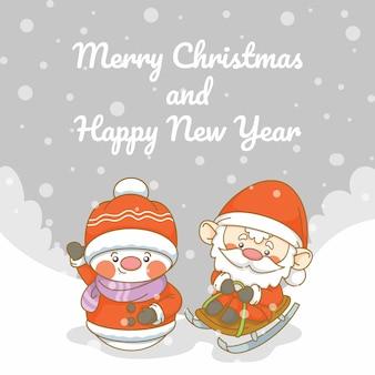Słodki mikołaj i bałwan z banerem z życzeniami bożego narodzenia i nowego roku