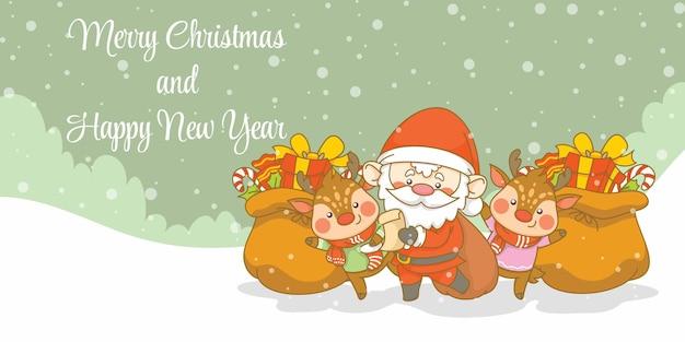 Słodki mikołaj i jeleń z banerem powitalnym świąt i nowego roku