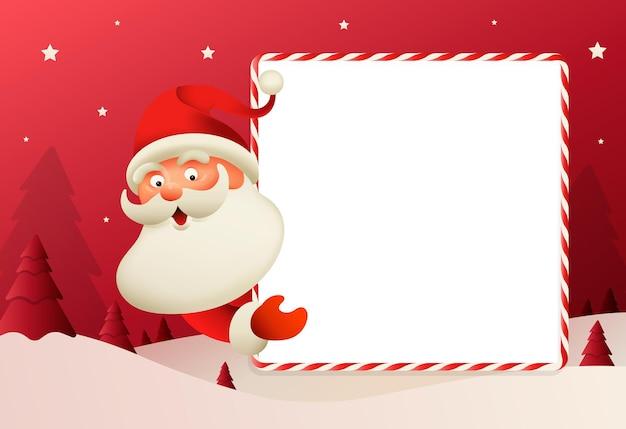 Słodki mikołaj z dużym szyldem kartkę z życzeniami wesołych świąt i szczęśliwego nowego roku