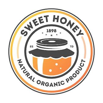 Słodki miód vintage na białym tle etykiety