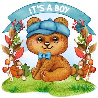Słodki miś akwarela ilustracja chłopiec dziecko