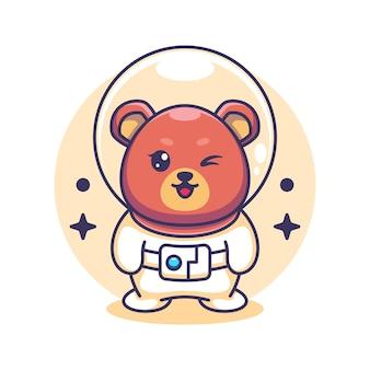 Słodki miś astronauta ilustracja kreskówka