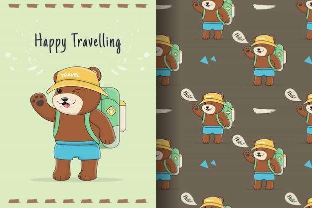 Słodki miś backpacker wzór i karta