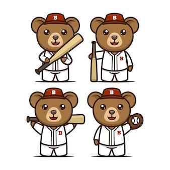Słodki miś baseball maskotka projekt ilustracja wektor zestaw szablonów