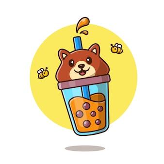 Słodki miś boba herbata mleczna z ilustracja kreskówka pszczoły. koncepcja ikona napój zwierzę na białym tle. płaski styl kreskówki