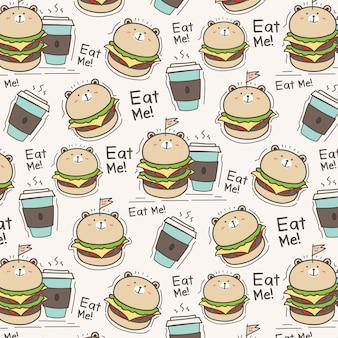 Słodki miś burger i filiżanka kawy wzór tła.