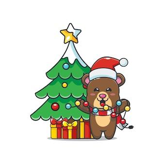 Słodki miś chce naprawić bożonarodzeniowe światło śliczna świąteczna ilustracja kreskówka