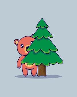 Słodki miś chowa się za drzewem