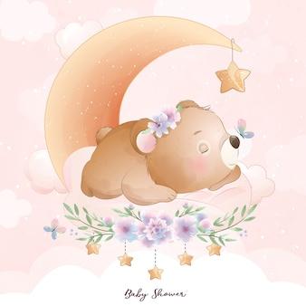 Słodki miś doodle z ilustracja kwiatowy