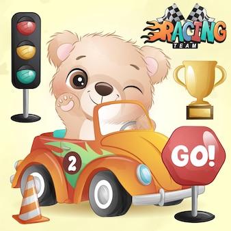 Słodki miś doodle z ilustracją samochodu wyścigowego