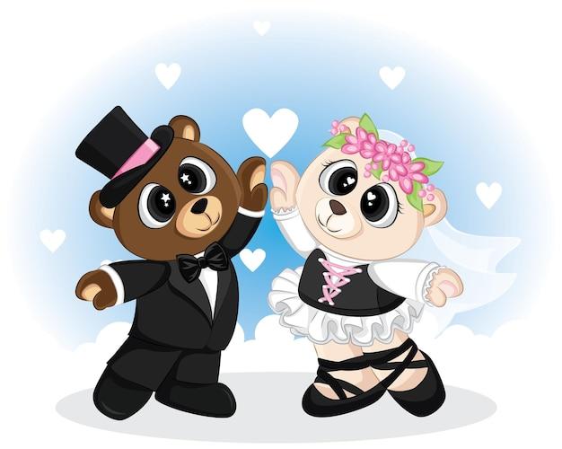 Słodki miś doodle z ubraniami ślubnymi na walentynki