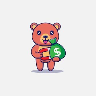 Słodki miś dostaje torbę pieniędzy z magnesem