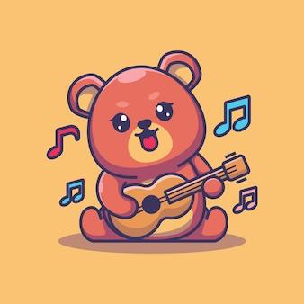 Słodki miś dziecko gra na gitarze kreskówka