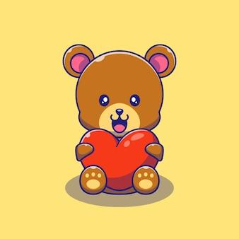 Słodki miś gospodarstwa ilustracja miłość serca. niedźwiedź maskotka kreskówka znaków zwierzęta ikona koncepcja na białym tle.
