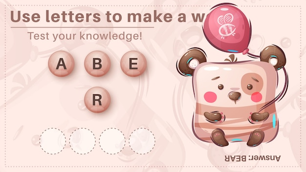 Słodki miś - gra dla dzieci, ułóż słowo z liter