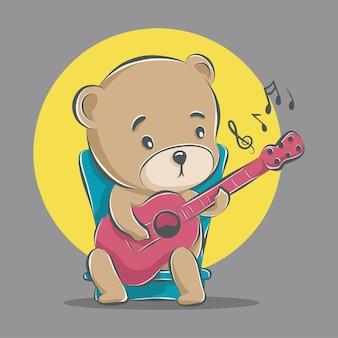 Słodki miś gra na gitarze ikona ilustracja kreskówka