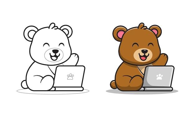 Słodki miś gra na laptopie kolorowanki kreskówki
