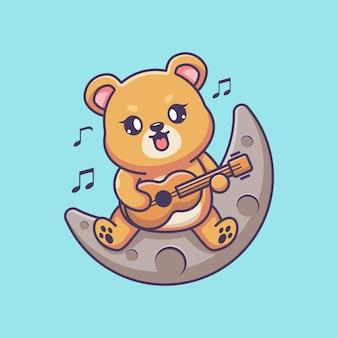 Słodki miś grający na gitarze na księżycu