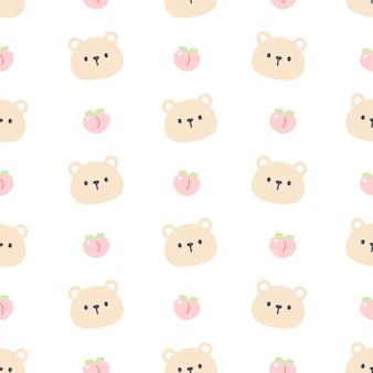 Słodki miś i brzoskwinia wzór
