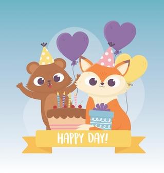 Słodki miś i lis z czapeczek imprezowych ciasto balony zwierząt uroczystości szczęśliwy dzień kartkę z życzeniami