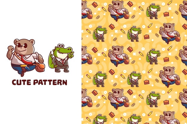 Słodki miś i wzór krokodyla