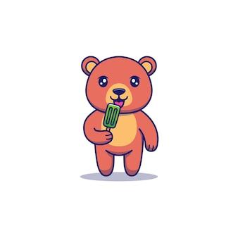 Słodki miś jedzący lody
