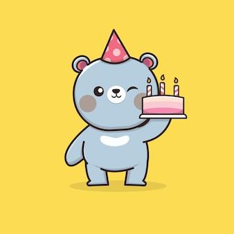 Słodki miś kawaii z tortem urodzinowym