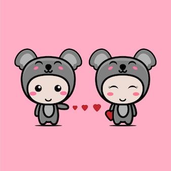 Słodki miś koala para zakochanych znaków