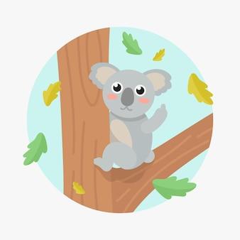 Słodki miś koala pokazujący symbol fuck you
