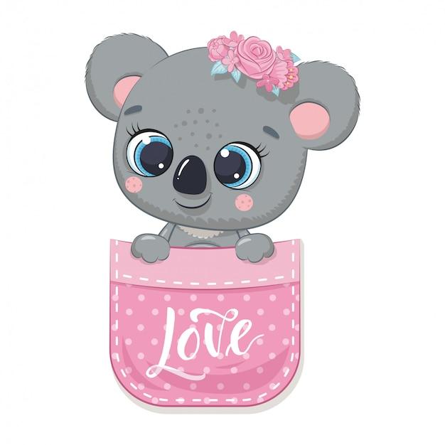 Słodki miś koala w kieszeni. ilustracja