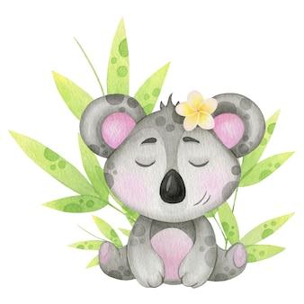 Słodki miś koala z tropikalnymi liśćmi. akwarela ilustracja