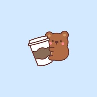 Słodki miś kocha kawę kreskówka na niebieskim tle