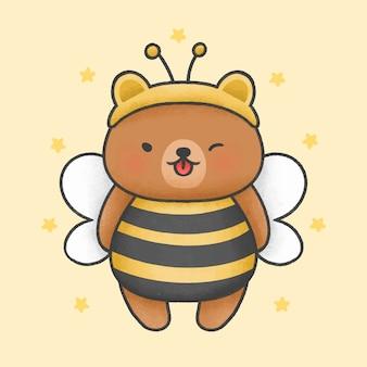 Słodki miś kostium pszczoła kreskówka ręcznie rysowane styl