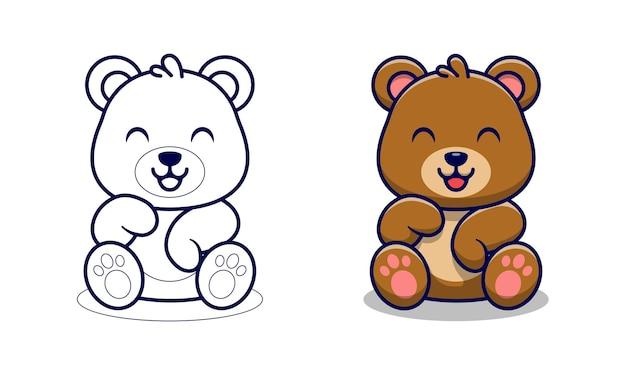 Słodki miś kreskówka kolorowanki dla dzieci