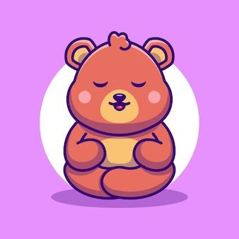 Słodki miś kreskówka medytacja
