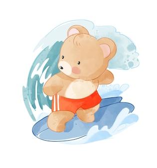 Słodki miś kreskówka surfing ilustracja