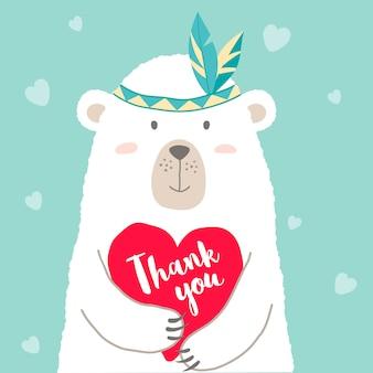 Słodki miś kreskówka trzyma serce i odręczny napis dziękujemy