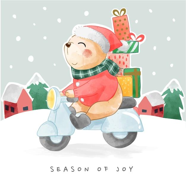Słodki miś kreskówka z prezentami, jazda na skuterze projekt karty nowy rok