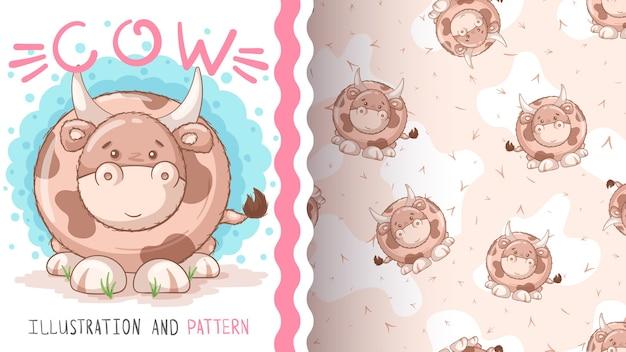 Słodki miś krowa - bez szwu patterna