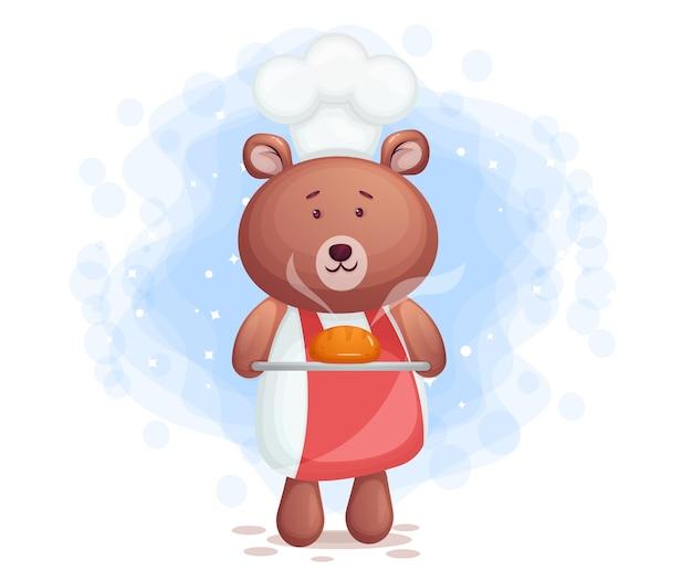 Słodki miś kucharz niosący chleb postać z kreskówki