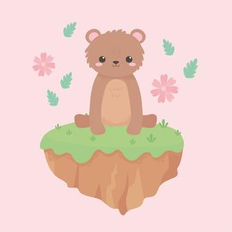 Słodki miś kwiaty trawa kreskówka zwierzęta w ilustracji wektorowych naturalny krajobraz