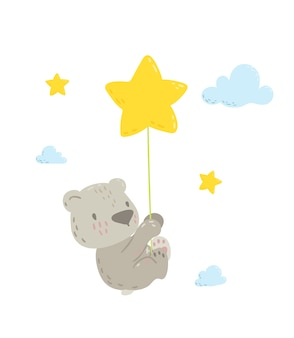 Słodki miś latający na balonie gwiazdy